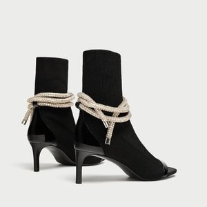 ZARA Special Edition Black Booties Bling